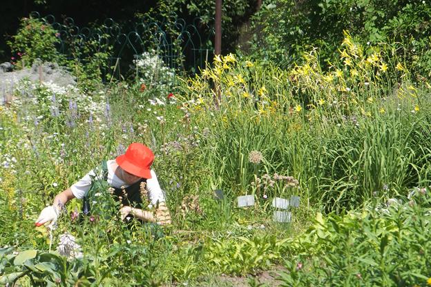 Подросток в спецкостюме работает на клумбе, вокруг цветы и трава