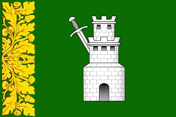 Флаг МО Светлановское. На зеленом фоне слева изображена изображена дубовая ветвь с желудями золотого цвета. Посередине флага - трехуровневая башня серого цвета, позади башни серый меч.