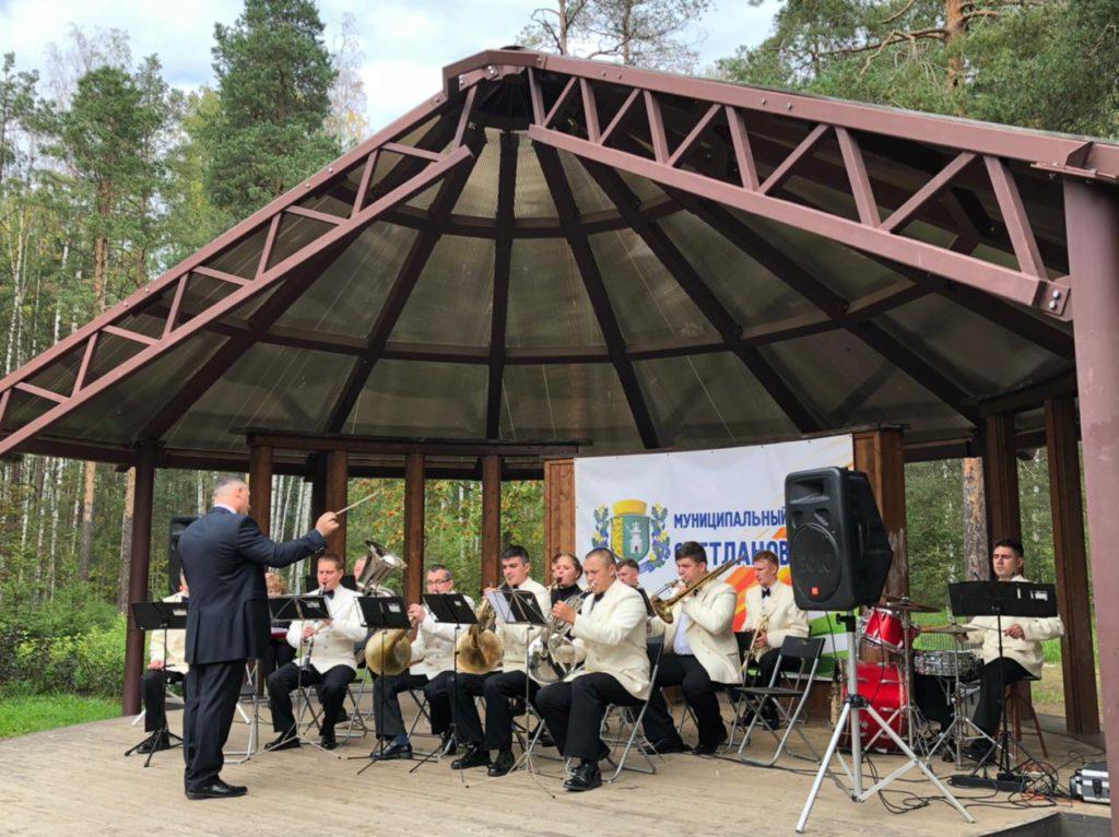 Музыканты оркестра играют на сцене в парке Сосновка