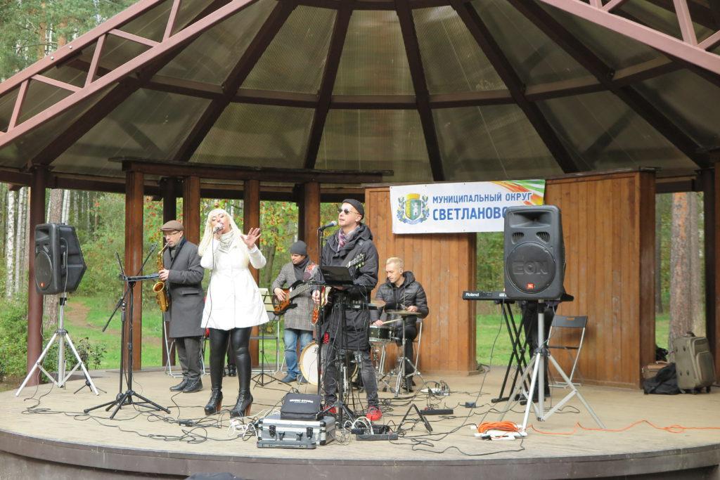 Музыканты выступают на сцене в парке Сосновка